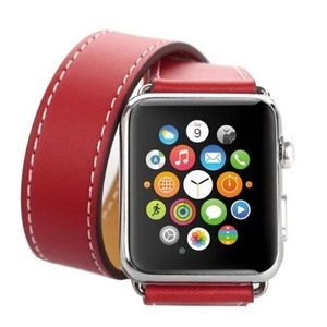 Leather Double Tour Red Watchband for Apple Watch
